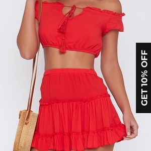 Dresses & Skirts - XS red cha cha two piece set- worn once